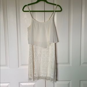 White Crochet Dress with attached top